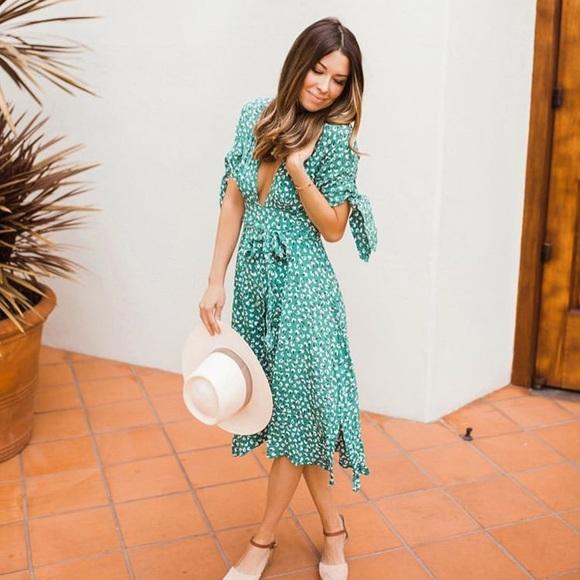 6d6adfa7 Faithfull the Brand Dresses | Green Nina Midi Dress Nwt | Poshmark